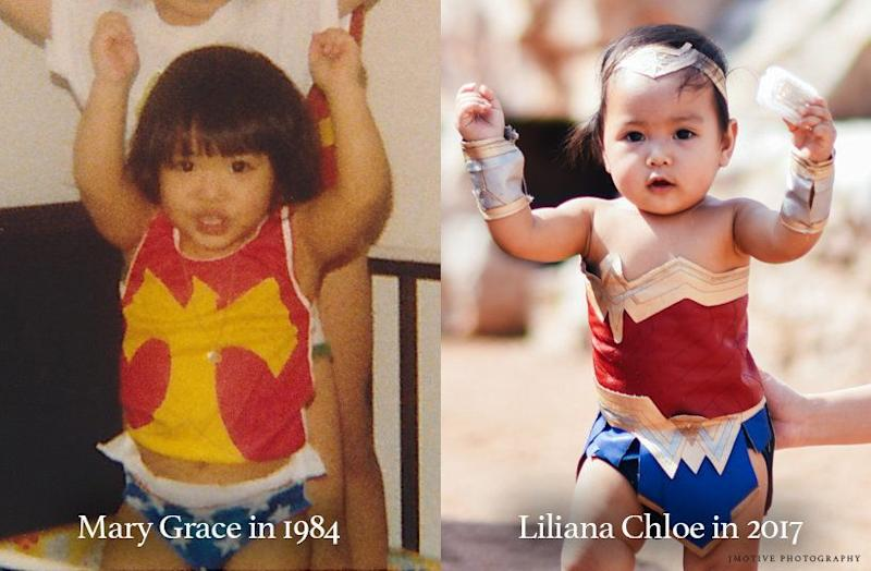 """""""It just tickled me to see my baby girl as Wonder Woman because I also dressed up as her as a little girl,"""" said Pingoy"""