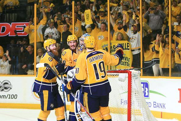 "NASHVILLE, TN – MAY 07: <a class=""link rapid-noclick-resp"" href=""/nhl/teams/nas/"" data-ylk=""slk:Nashville Predators"">Nashville Predators</a> goalie Pekka Rinne (35) celebrates with center <a class=""link rapid-noclick-resp"" href=""/nhl/players/5024/"" data-ylk=""slk:Calle Jarnkrok"">Calle Jarnkrok</a> (19), defenseman <a class=""link rapid-noclick-resp"" href=""/nhl/players/4930/"" data-ylk=""slk:Roman Josi"">Roman Josi</a> (59) and defenseman Ryan Ellis (4) at the conclusion of Game Six of Round Two of the Stanley Cup Playoffs between the Nashville Predators and the St. Louis Blues, held on May 7, 2017, at Bridgestone Arena in Nashville, Tennessee. The Predators defeated the St. Louis Blues to advance to the Western Conference Finals for the first time in franchise history. (Photo by Danny Murphy/Icon Sportswire via Getty Images)"