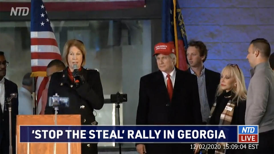 "Sidney Powell speaks at a ""Stop the Steal"" rally in Atlanta, Ga. on Decermber 2, 2020. (NTD via YouTube)"