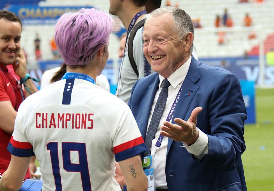Jean-Michel Aulas congratulates Megan Rapinoe after USA beat the Netherlands in the World Cup final in July last year.