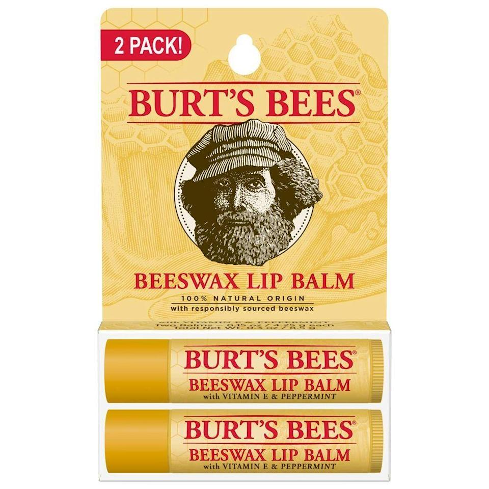 """<p><strong>Burt's Bees</strong></p><p>amazon.com</p><p><strong>$5.47</strong></p><p><a href=""""https://www.amazon.com/dp/B00076TOUO?tag=syn-yahoo-20&ascsubtag=%5Bartid%7C10049.g.35031720%5Bsrc%7Cyahoo-us"""" rel=""""nofollow noopener"""" target=""""_blank"""" data-ylk=""""slk:Shop Now"""" class=""""link rapid-noclick-resp"""">Shop Now</a></p><p>No one wants to wake up with a dry, cracked pucker. Burt's Bees' top-rated beeswax lip balm helps keep lips supple and feeling refreshed as you drift off to sleep.</p>"""