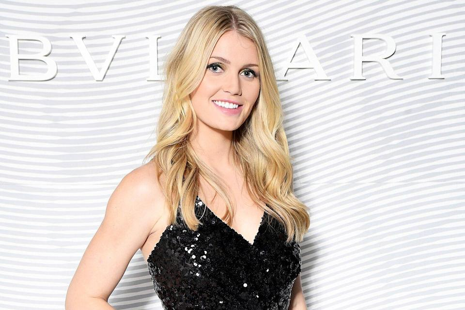 Lady Kitty Spencer attens the Bulgari FW 20 Leather Goods and Accessories Collection Party on February 21, 2020 in Milan, Italy.
