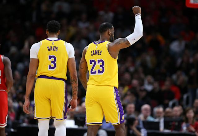Lakers teammates Anthony Davis and LeBron James are both MVP candidates this season. (Chris Sweda/Chicago Tribune/Tribune News Service via Getty Images)