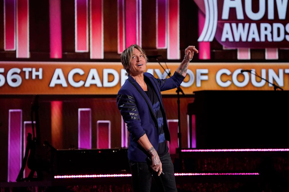 Keith Urban hosts the 56th ACM awards in Nashville on Sunday, April 18, 2021.