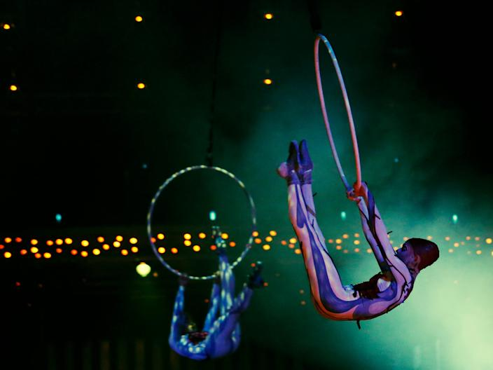 "Artists perform during a dress rehearsal for Quidam, a show by Cirque du Soleil, at the Royal Albert Hall in London January 4, 2014. <p class=""copyright"">REUTERS/Luke MacGregor</p>"