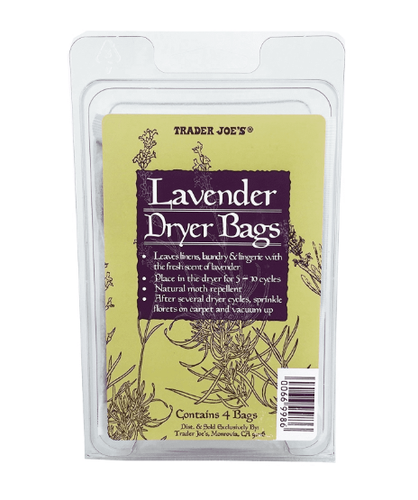 """<h3>Lavender Dryer Bags<br></h3><br>""""I love the <a href=""""https://www.traderjoes.com/digin/Post/Post/lavender-dryer-bags"""" rel=""""nofollow noopener"""" target=""""_blank"""" data-ylk=""""slk:lavender dryer bags"""" class=""""link rapid-noclick-resp"""">lavender dryer bags</a>. They're awesome because there's actually dried lavender in these little packs that you throw into the dryer to make your clothes smell fresh. They're also really good to keep in your drawers."""" — Jen in South Carolina"""