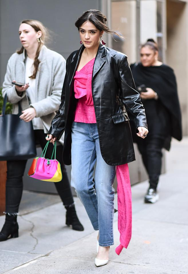 <p>This hot-pink version with a long sash looks seriously cool under an oversize leather blazer, and it gives off '80s vibes. Wear your own voluminous top with a pair of straight-leg jeans, pumps, and a colorful bag.</p>