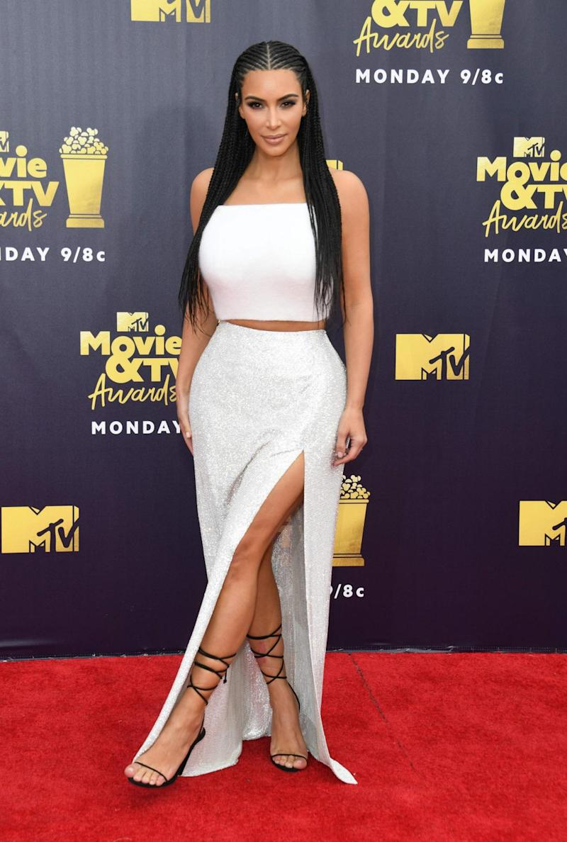 Braids: Kardashian wore sported the hairstyle at the MTV Movie and TV awards (AFP/Getty Images)