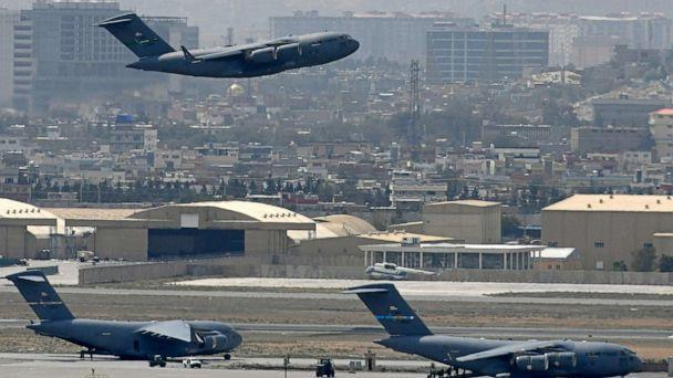 PHOTO: A U.S. Air Force aircraft takes off from the airport in Kabul, Afghanistan, on Aug. 30, 2021. (Aamir Qureshi/AFP via Getty Images)