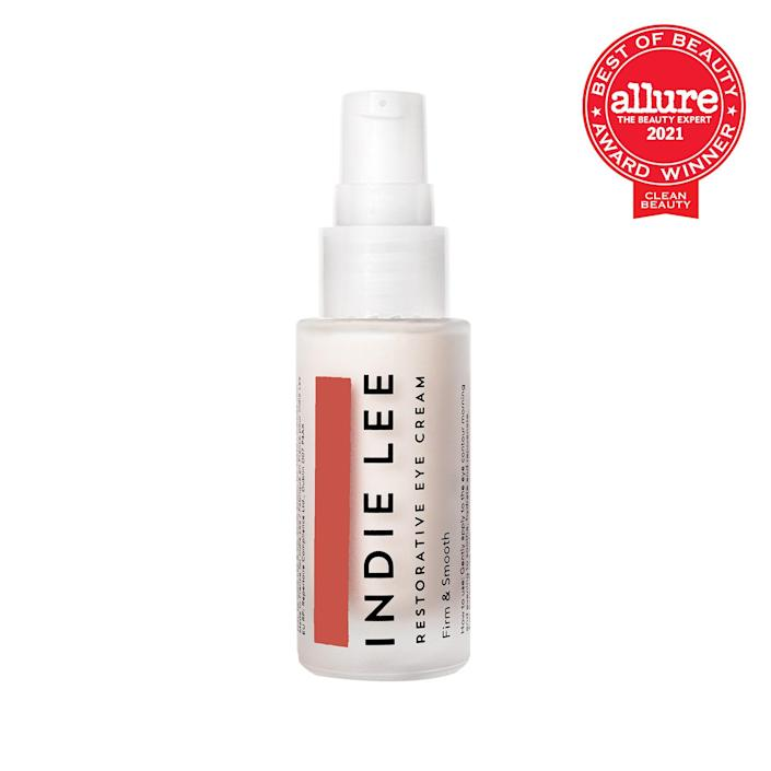 """Your <a href=""""https://www.allure.com/gallery/the-12-best-eye-creams?mbid=synd_yahoo_rss"""" rel=""""nofollow noopener"""" target=""""_blank"""" data-ylk=""""slk:undereyes and lids"""" class=""""link rapid-noclick-resp"""">undereyes and lids</a> deserve some extra attention, so show these delicate areas some love with the Indie Lee Restorative Eye Cream. This rich, decadent cream hydrates your eye contours with quenching hyaluronic acid while ingredients like ectoin and <a href=""""https://www.allure.com/story/what-is-cica-ingredient-korean-beauty-skin-care?mbid=synd_yahoo_rss"""" rel=""""nofollow noopener"""" target=""""_blank"""" data-ylk=""""slk:Centella asiatica extract"""" class=""""link rapid-noclick-resp""""><em>Centella asiatica</em> extract</a> (otherwise known as cica, a popular K-beauty ingredient) reduce the appearance of fine lines. This cream also contains licorice root to brighten dark circles. $68, Ulta Beauty. <a href=""""https://shop-links.co/1749567598927733867"""" rel=""""nofollow noopener"""" target=""""_blank"""" data-ylk=""""slk:Get it now!"""" class=""""link rapid-noclick-resp"""">Get it now!</a>"""