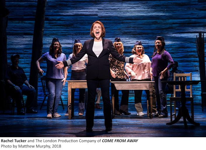 """Rachel Tucker and the London company of """"Come From Away"""" in 2018."""