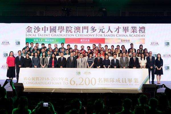 Officiating guests congratulate over 6,200 graduates in 2018-2019 at the Diversified Local Talent Graduation Ceremony Wednesday at Sands Cotai Central.
