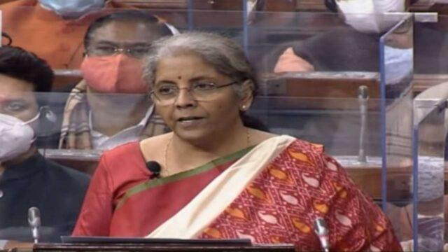 Nirmala Sitaraman addressing the nation in the Parliament today during Budget 2021