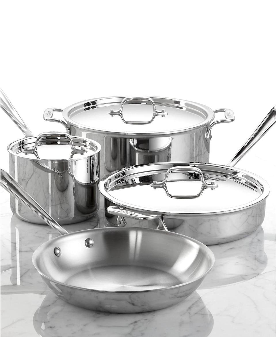 <p><span>All-Clad Stainless Steel 7-Pc. Cookware Set</span> ($500, originally $840 (with code FOURTH) )</p>