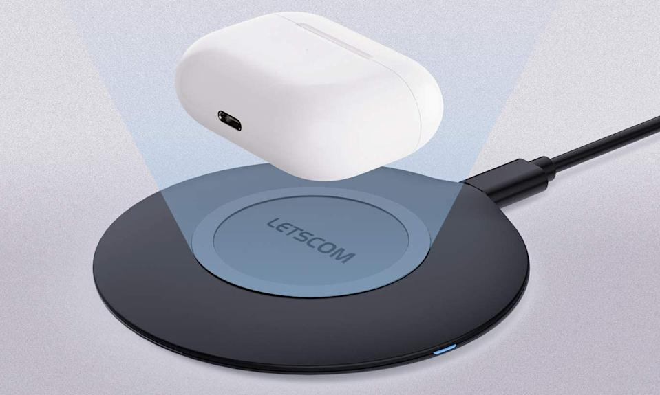Free yourself from cords with the $8 Letscom Ultra Slim Wireless Charger. (Photo: Amazon)