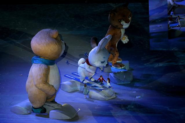 SOCHI, RUSSIA - FEBRUARY 23: Olympic mascots the Hare, the Polar Bear and the Leopard perform during the 2014 Sochi Winter Olympics Closing Ceremony at Fisht Olympic Stadium on February 23, 2014 in Sochi, Russia. (Photo by Matthew Stockman/Getty Images)