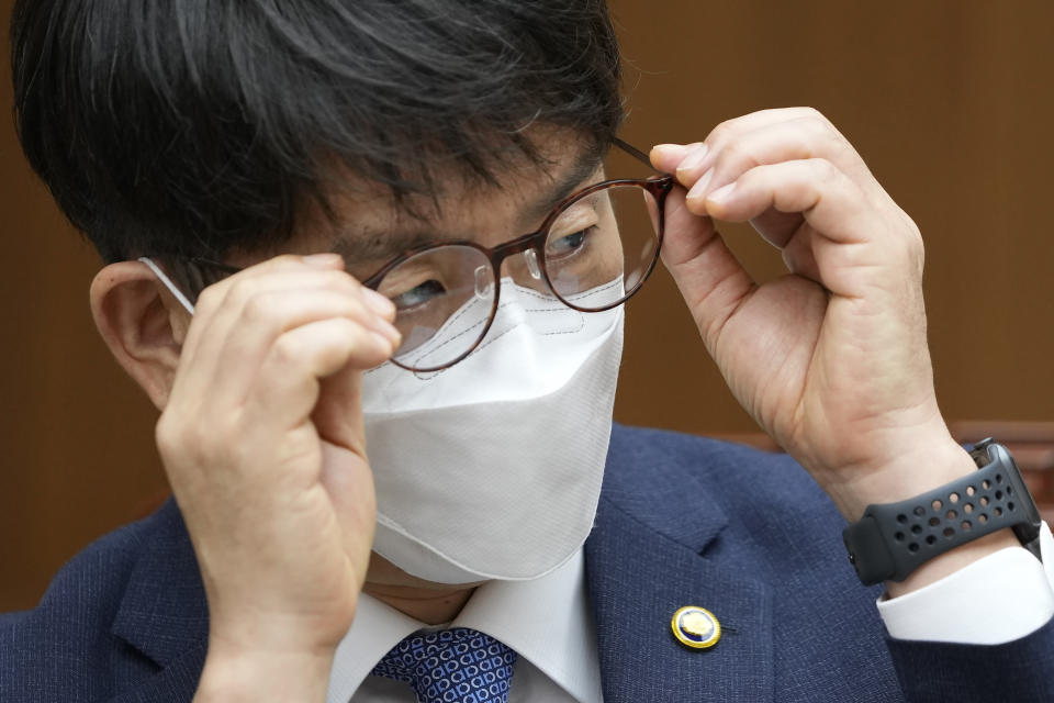 South Korea's Vice Defense Minister Park Jae-min adjusts his glasses during an interview at the Defense Ministry in Seoul, South Korea, Thursday, Aug. 26, 2021. South Korea's vice defense minister on Thursday called for North Korea to resume cooperation under a 2018 military agreement on reducing tensions, which Pyongyang has threatened to abandon over U.S.-South Korean military exercises. (AP Photo/Lee Jin-man)