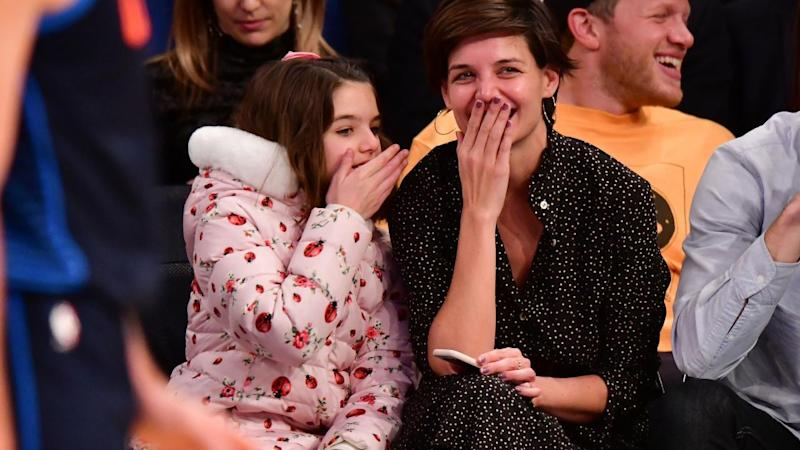 Katie Holmes and daughter Suri Cruise spend some quality family time watching the Knicks in New York City