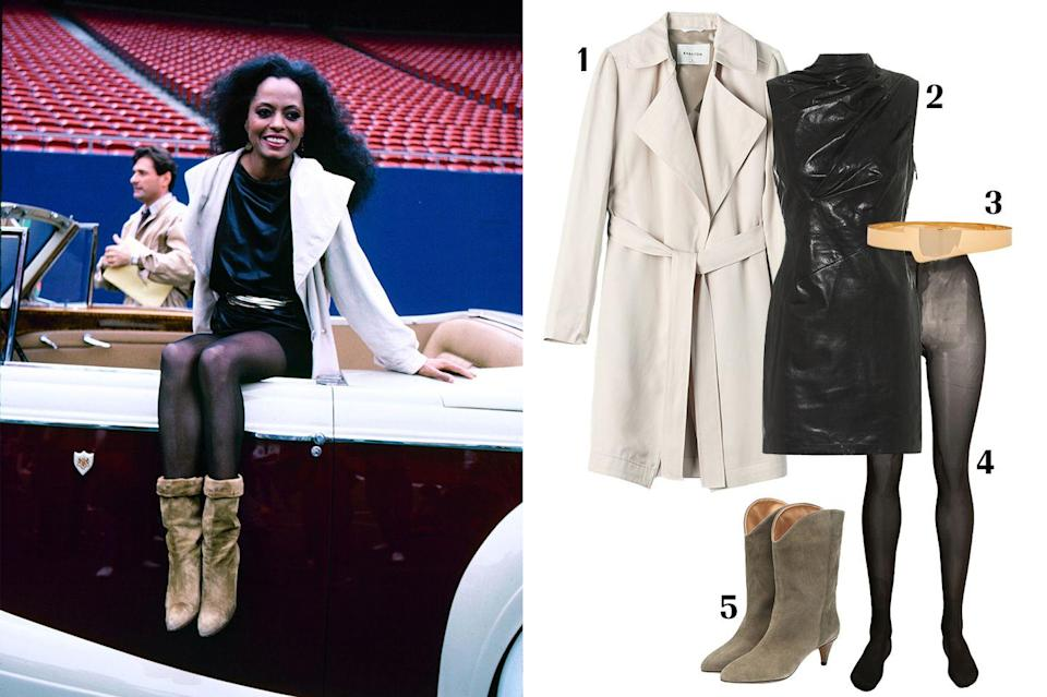 """<p>Diana Ross is <em>the</em> blueprint, the original diva who paved the way for our current favorite looks. From the '60s through the '90s up until now, Ross has been not only a style chameleon, but truly The Boss. Her performance looks were shimmery and show-stopping, her red carpet looks bold and fabulous. The one thing which remains constant is the fact the Ms. Ross loves a fashion risk—but her off-duty style is just as enviable. For example, take this belted leather number that she pared down with a classic trench and some slouchy boots. </p><p><strong> 1. </strong><em><a href=""""https://www.aritzia.com/us/en/product/maximo-trench-coat/58478.html?dwvar_58478_color=3634"""" rel=""""nofollow noopener"""" target=""""_blank"""" data-ylk=""""slk:Aritzia trench coat"""" class=""""link rapid-noclick-resp"""">Aritzia trench coat</a>, $248; </em><strong>2. </strong><em><a href=""""https://www.mytheresa.com/en-us/rta-holly-leather-minidress-1365905.html"""" rel=""""nofollow noopener"""" target=""""_blank"""" data-ylk=""""slk:RTA dress"""" class=""""link rapid-noclick-resp"""">RTA dress</a>, $597; </em><strong>3. </strong><em><a href=""""https://www.farfetch.com/shopping/women/haney-metallic-crossover-belt-item-14074171.aspx?fsb=1&size=22&storeid=10281"""" rel=""""nofollow noopener"""" target=""""_blank"""" data-ylk=""""slk:Haney belt"""" class=""""link rapid-noclick-resp"""">Haney belt</a>, $295; </em><strong>4. </strong><em><a href=""""https://www.farfetch.com/shopping/women/wolford-sheer-tights-item-15445297.aspx?storeid=9684"""" rel=""""nofollow noopener"""" target=""""_blank"""" data-ylk=""""slk:Wolford sheer tights"""" class=""""link rapid-noclick-resp"""">Wolford sheer tights</a>, $49; </em><strong>5. </strong><em><a href=""""https://www.mytheresa.com/en-us/isabel-marant-dernee-suede-ankle-boots-1140504.html"""" rel=""""nofollow noopener"""" target=""""_blank"""" data-ylk=""""slk:Isabel Marant boots"""" class=""""link rapid-noclick-resp"""">Isabel Marant boots</a>, $655.</em></p>"""