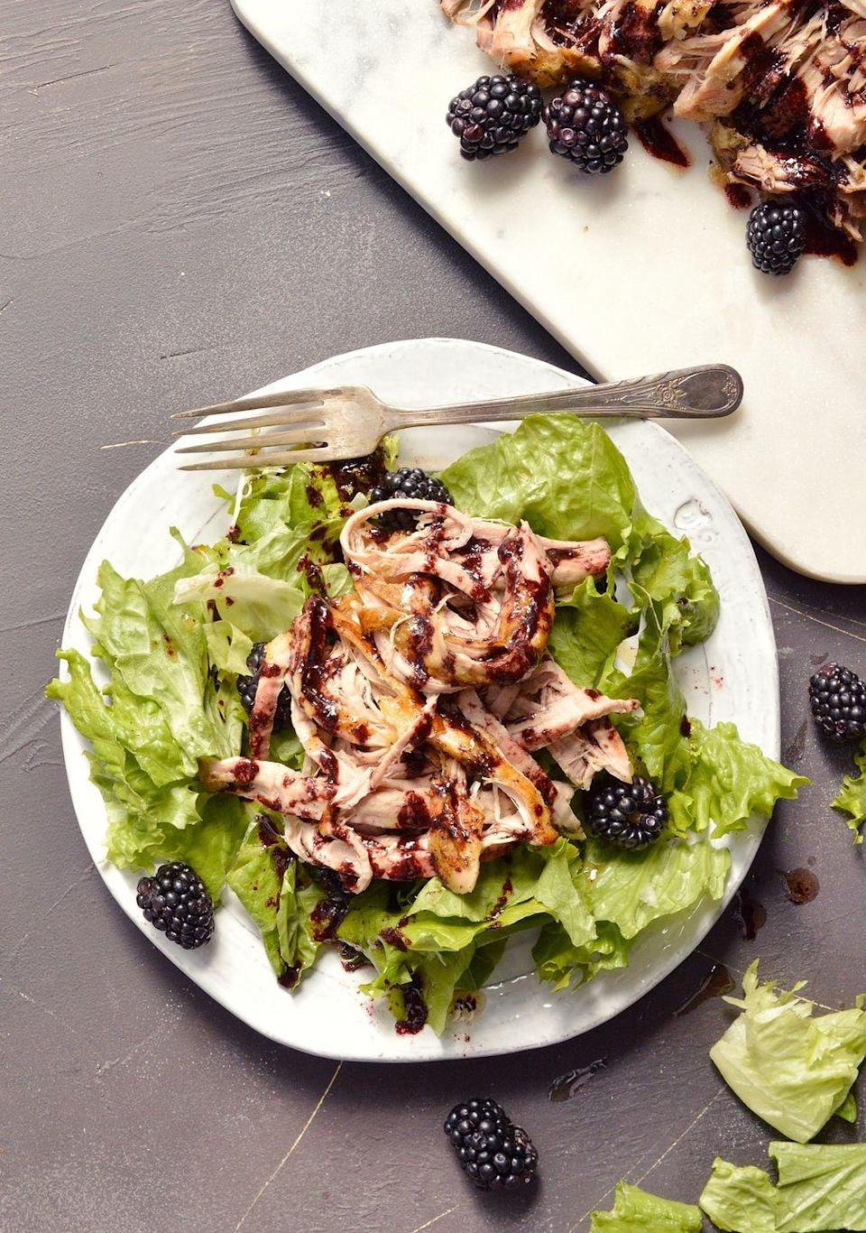 """<p>This moistened, shredded pork recipe by<a href=""""https://wonkywonderful.com/slow-cooker-pork-tenderloin/"""" rel=""""nofollow noopener"""" target=""""_blank"""" data-ylk=""""slk:Wonky Wonderful"""" class=""""link rapid-noclick-resp""""> Wonky Wonderful</a> will literally fall apart in your mouth, and it has a delicious sweetness from a blackberry sauce to nicely balance out the meal. It's also Whole30 and paleo compliant, so it's great for those on restrictive diets looking to slash carbs and load up on healthier protein or fats. Stuff it into sandwiches, tacos, or eat plain over a bed of lettuce.</p>"""