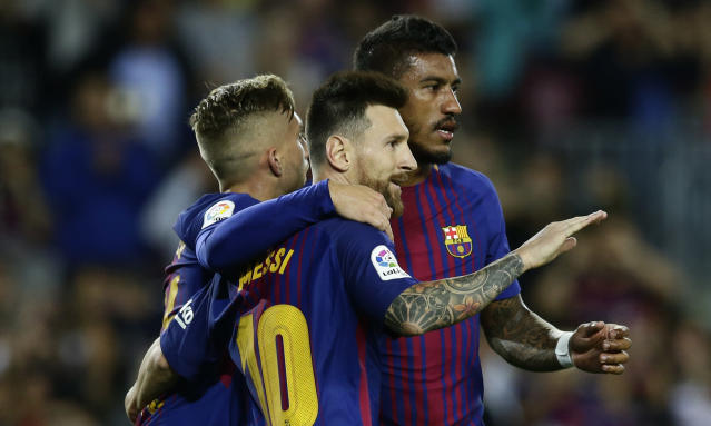 "<a class=""link rapid-noclick-resp"" href=""/soccer/players/lionel-messi/"" data-ylk=""slk:Lionel Messi"">Lionel Messi</a> was incredible once again against <a class=""link rapid-noclick-resp"" href=""/soccer/teams/eibar/"" data-ylk=""slk:Eibar"">Eibar</a>. If Barcelona needs that from him every match, it could be an issue. (AP)"
