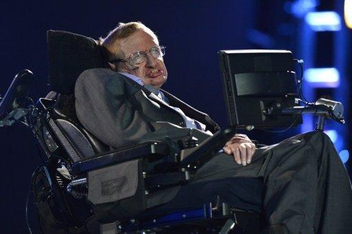 Stephen Hawking appears during the opening ceremony of the London 2012 Paralympic Games on August 29, 2012