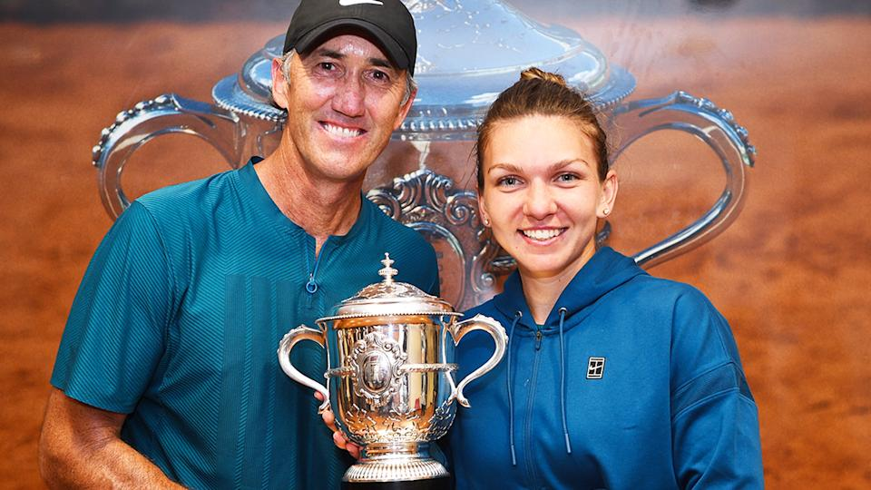 Darren Cahill and Simona Halep, pictured here after the 2018 French Open final.