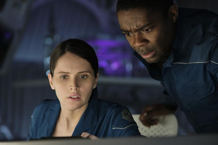 "Felicity Jones and David Oyelowo in the movie ""The Midnight Sky."""