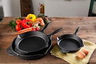 """<p>Three-piece, cast Iron skillet set. Available at Walmart, <a href=""""http://www.walmart.com/ip/The-Pioneer-Woman-Timeless-Cast-Iron-3-Piece-Set-6-8-and-10-Cast-Iron-Pre-Seasoned/46039892"""" rel=""""nofollow noopener"""" target=""""_blank"""" data-ylk=""""slk:$54.97"""" class=""""link rapid-noclick-resp"""">$54.97</a>.</p>"""