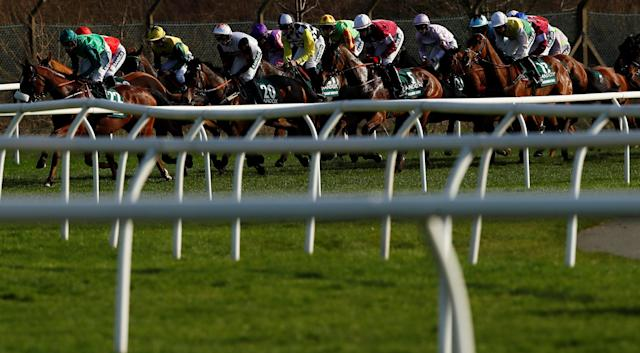 Horse Racing - Grand National Festival - Aintree Racecourse, Liverpool, Britain - April 14, 2018 General view during the 17:15 Randox Health Grand National Handicap Chase Action Images via Reuters/Jason Cairnduff