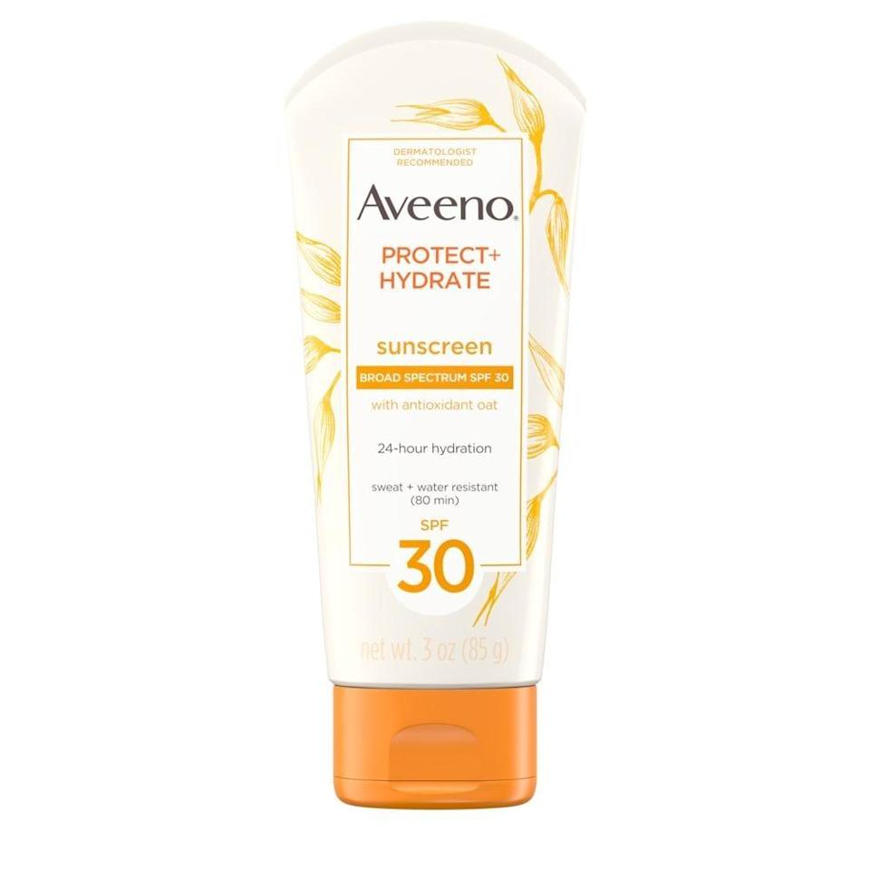 <p><span>Aveeno Protect + Hydrate Lotion SPF 30</span> ($9) has a strong and moisturizing formula that's aluminum-, dye-, and paraben-free.</p>
