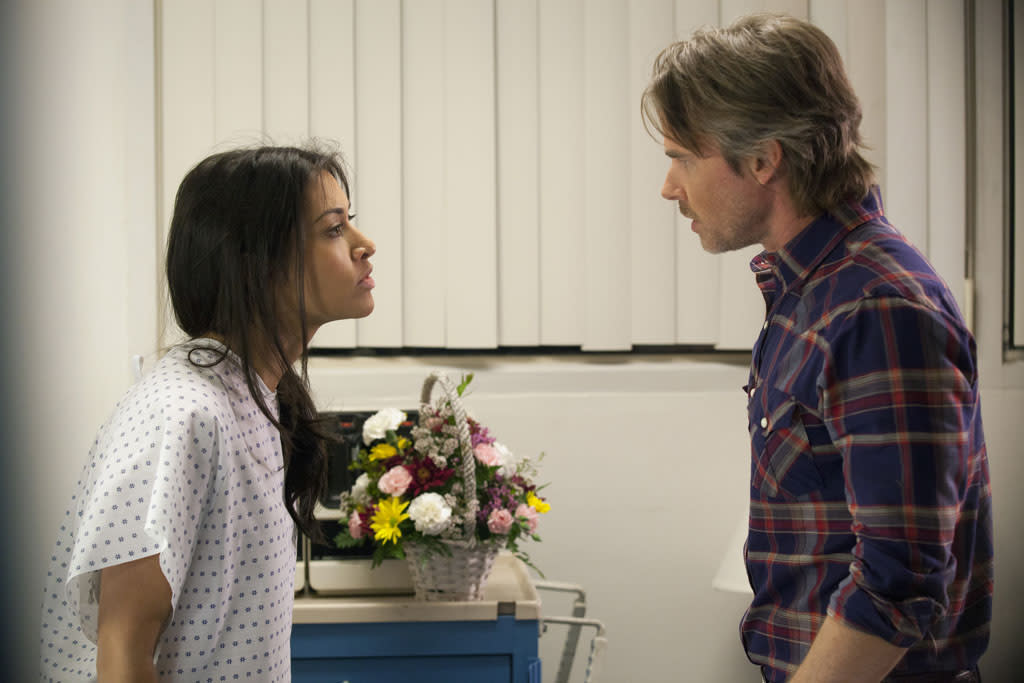 "Janina Gavankar and Sam Trammell in the ""True Blood"" episode, ""In the Beginning."""