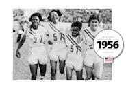 Team USA, led by Mae Faggs, competed in all-white uniforms, decorated with stripes. (Getty Images)