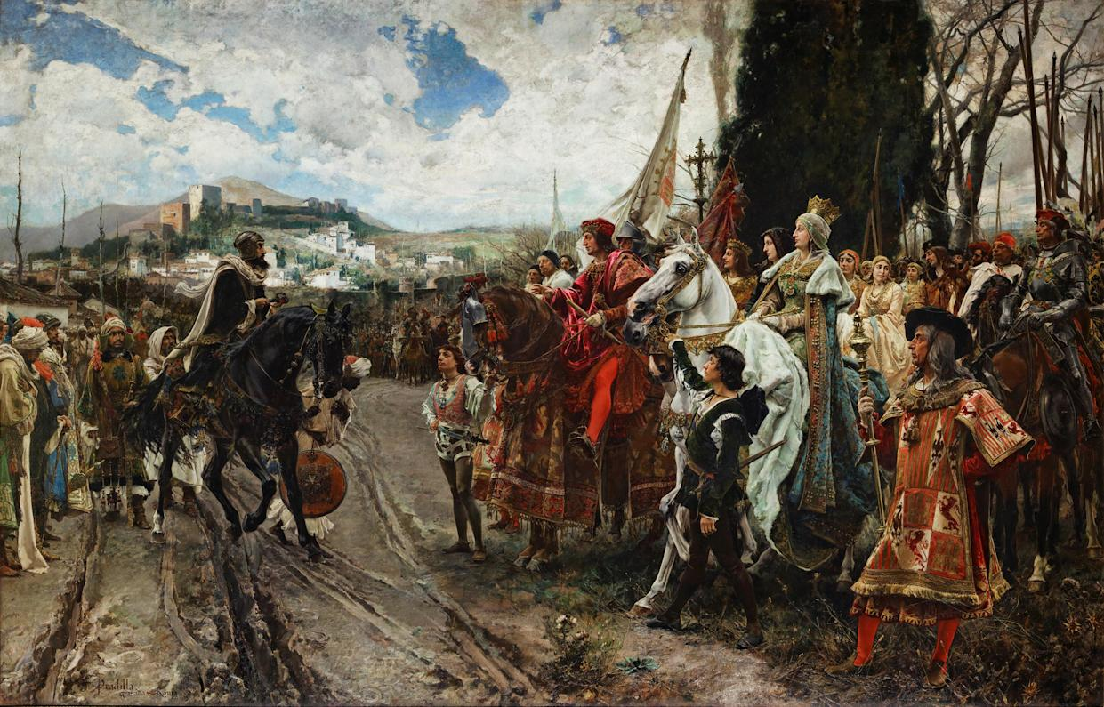 """""""The Capitulation of Granada, by F. Pradilla: Muhammad XII"""": Boabdil surrenders to Ferdinand and Isabella in 1492. (Photo: Wikicommons)"""