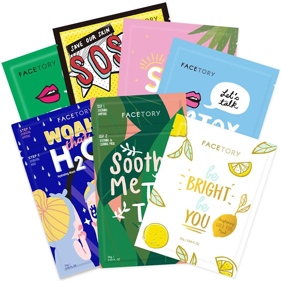 <p>If they love a good sheet mask, you can't go wrong with this all-encompassing <span>FaceTory Best of Seven Facial Masks Collection</span> ($14, originally $16). This sheet mask set contains options for all skin types aiming to hydrate, brighten, soothe, revitalize, nourish, and purify.</p>