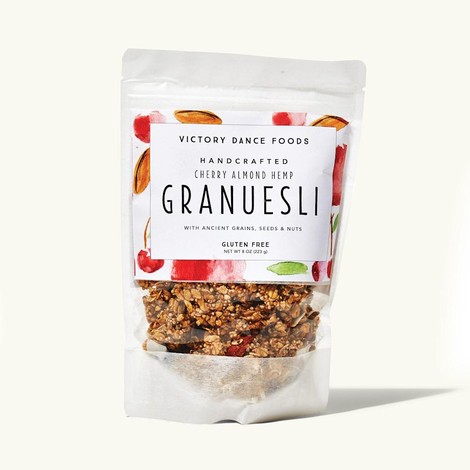 """<p>""""Granuesli is loaded with goodies like granola, but the oats are flat and whole like muesli. It's great for breakfast or just for snacking on all day.""""</p> <p><em>Buy it: <a rel=""""nofollow noopener"""" href=""""https://getintothebubble.com/products/cherry-almond-hemp-granuesli-2oz-bag"""" target=""""_blank"""" data-ylk=""""slk:Victory Dance Foods Cherry Almond Hemp Granuesli, $4."""" class=""""link rapid-noclick-resp"""">Victory Dance Foods Cherry Almond Hemp Granuesli, $4.</a></em></p>"""