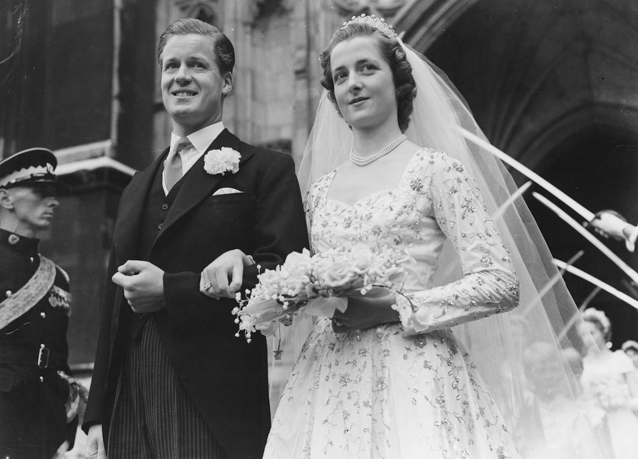 <p>Here are Diana's parents, Viscount Althorp and the Honorable Frances Roche at their wedding at Westminster Abbey. Their marriage later ended in divorce in 1969.</p>