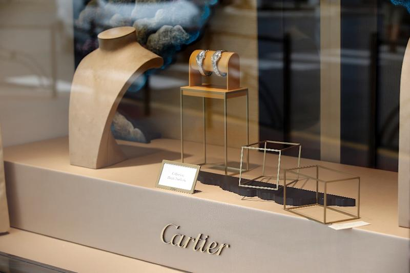 The Cartier jewelry shop window in Cannes, France on May 5, 2015, after the hold up by four armed men who fled with a large amount of jewellery