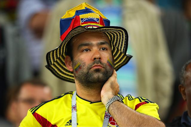 <p>Colombia fans look on during the 2018 FIFA World Cup Russia Round of 16 match between Colombia and England at Spartak Stadium on July 3, 2018 in Moscow, Russia. (Photo by Robbie Jay Barratt – AMA/Getty Images) </p>