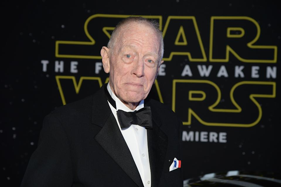 """LOS ANGELES, CA - DECEMBER 14:  Actor Max von Sydow arrives at the premiere of Walt Disney Pictures' and Lucasfilm's """"Star Wars: The Force Awakens"""", sponsored by Dodge, at the Dolby Theatre, TCL Chinese Theatre and El Capitan Theatre on December 14, 2015 in Hollywood, California.  (Photo by Michael Kovac/Getty Images for Dodge)"""