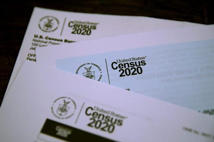 The U.S. Census logo appears on census materials received in the mail with an invitation to fill out census information online on March 19, 2020 in San Anselmo, California. (Photo Illustration by Justin Sullivan/Getty Images)