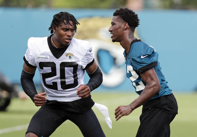 Jacksonville Jaguars cornerback Jalen Ramsey (L) passed on the chance to be critical of opposing NFL quarterbacks. (AP)