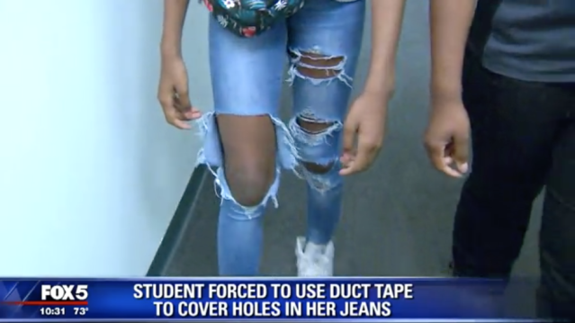 A middle schooler gets duct tape put on her legs to cover up a dress code violation. (Photo: Fox 5)