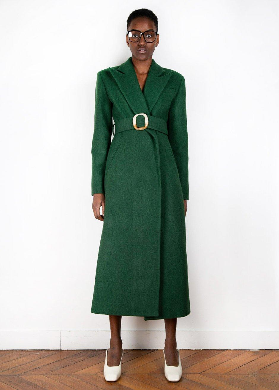 Materiel Tblisi Forest Green Wool Blend Belted Coat (Credit: The Frankie Shop)