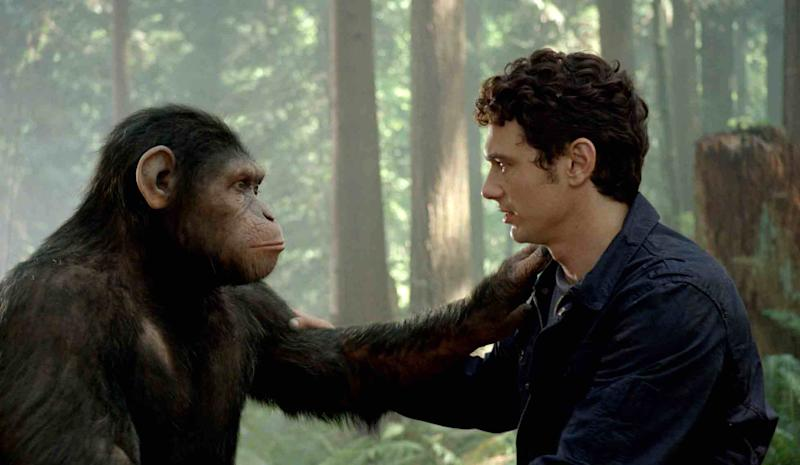 "In this image released by Twentieth Century Fox, Caesar the chimp, a CG animal portrayed by Andy Serkis, and James Franco are shown in a scene from ""Rise of the Planet of the Apes .""  The prequel ""Rise of the Planet of the Apes,"" opening in U.S. theaters Friday, features chimpanzees, gorillas and orangutans crafted through performance-capture. It is the same technology used for the giant gorilla in Peter Jackson's 2005 ""King Kong,"" with the same actor who did Kong, Andy Serkis, playing the lead chimp in the prequel.(AP Photo/Twentieth Century Fox)"