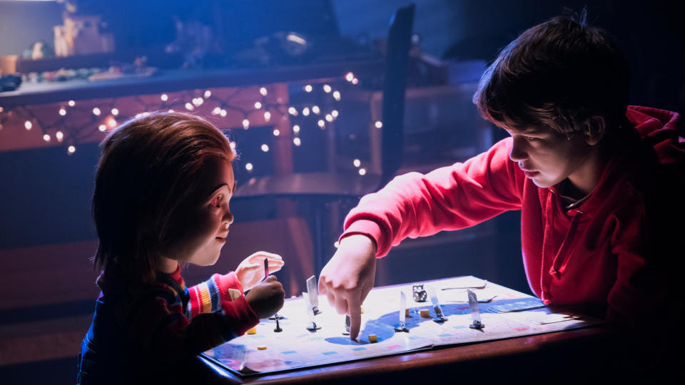 """The original <em>Chucky</em> franchise is still churning out well-received sequels under the guidance of creator Don Mancini, but that didn't prevent rights holders MGM from hitting the reboot button, with <a href=""""https://uk.movies.yahoo.com/star-wars-icon-mark-hamill-voice-chucky-childs-play-reboot-095206722.html"""" data-ylk=""""slk:Mark Hamill lending his memorable voice;outcm:mb_qualified_link;_E:mb_qualified_link;ct:story;"""" class=""""link rapid-noclick-resp yahoo-link"""">Mark Hamill lending his memorable voice</a> to the killer doll. The smart technology themes are timely and interesting, but it's Hamill who is the star here for sure. (Credit: Vertigo Releasing)"""