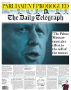 """The Daily Telegraph said Mr Johnson's """"must give effect to the will of the nation"""", while its editorial ran under a headline of: """"The real outrage is the antics of the Remainers"""". (Twitter)"""
