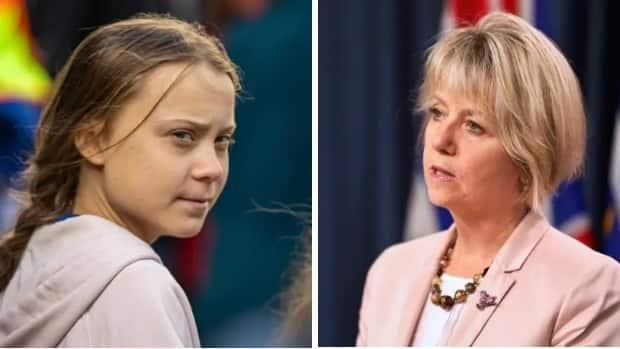 Greta Thunberg, left, will receive an honorary Doctor of Laws degree and Dr. Bonnie Henry will receive an honorary Doctor of Science degree from UBC.  (CBC - image credit)