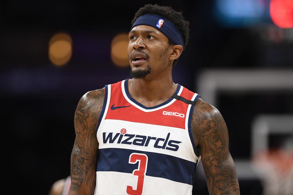 Washington Wizards guard Bradley Beal (3) stands on the court during the first half of an NBA basketball game against the Miami Heat, Sunday, March 8, 2020, in Washington. (AP Photo/Nick Wass)