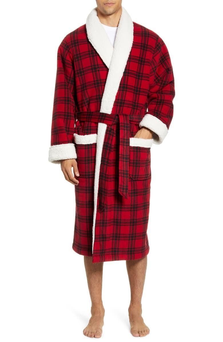 <p>He'll know the true meaning of comfort when he slips into this <span>Plaid Fleece Robe With Faux Shearling Lining</span> ($90).</p>